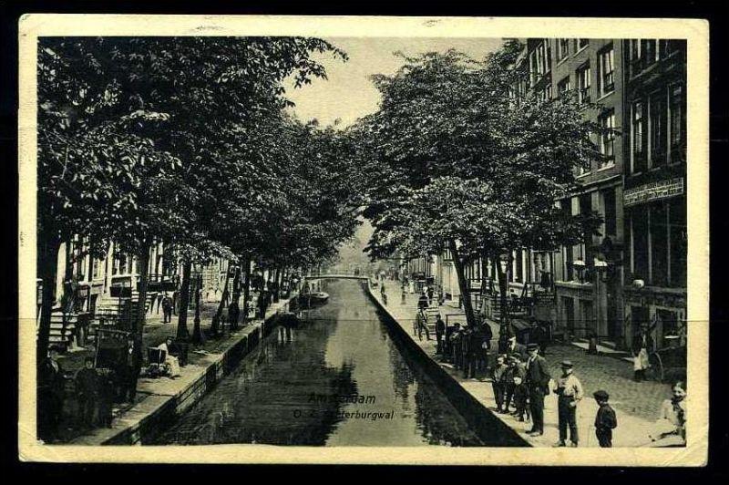 K2838)Ansichtskarte Amsterdam - Achter Burgwal 1909