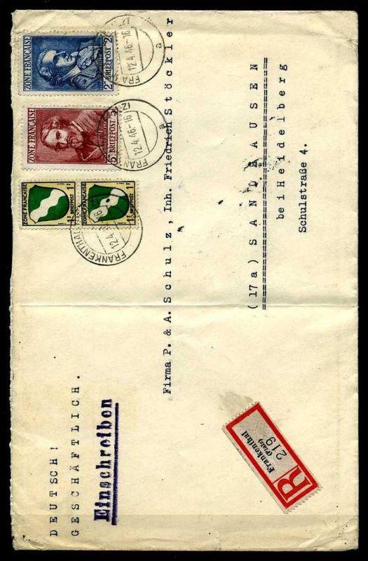 Z18214)Franz. Zone Allg. Ausgabe 12 + 13 E-Brief