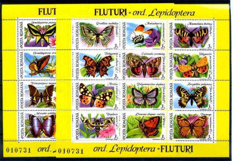 E22477)Schmetterlinge, Rumänien Bl 267** + 268**