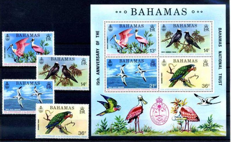 E22501)Vögel, Bahamas 370/3** + Bl 11**