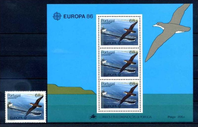 E22508)Vögel, Portugal-Madeira  106** + Bl 7**