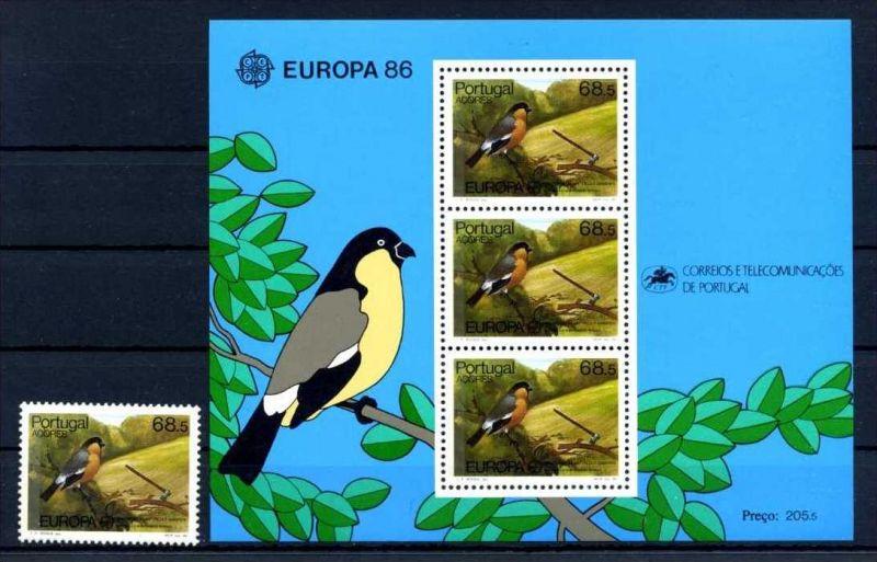 E22509)Vögel, Portugal-Azoren  376** + Bl 7**