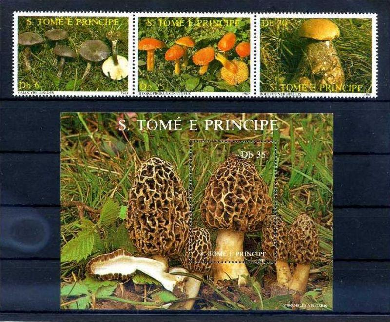 E24631)Pilze, St. Thomas & Prinzeninseln 1013/5 ZDR** + Bl 173**