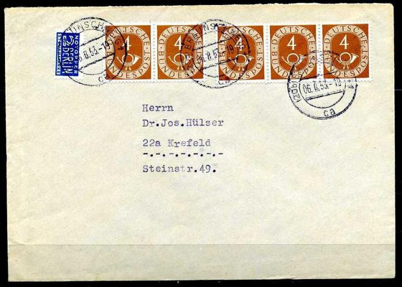Y429)Bd 124 Paar + 3er-Streifen Brief MEF