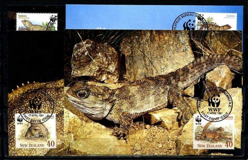 X2545)Neuseeland Maxi-Karte 1160/3 WWF 110 Brückenechse