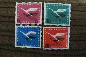 Briefmarken BRD 1955: Deutsche Lufthansa - Flugdienstbeginn. Satz 4 Werte gestempelt komplett.