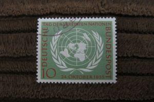 Briefmarke BRD 1955 - 10 Jahre Vereinte Nationen (UN) - 10 Pf gestempelt
