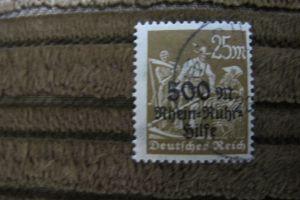 Briefmarke Deutsches Reich 1923 Rhein- u.Ruhrhilfe auf Serienmarke: 500 M a.25 M.gestempelt