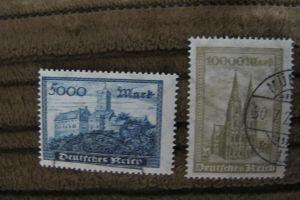 Briefmarken Deutsches Reich 1923: Freimarken Wartburg / Kölner Dom - gestempelt