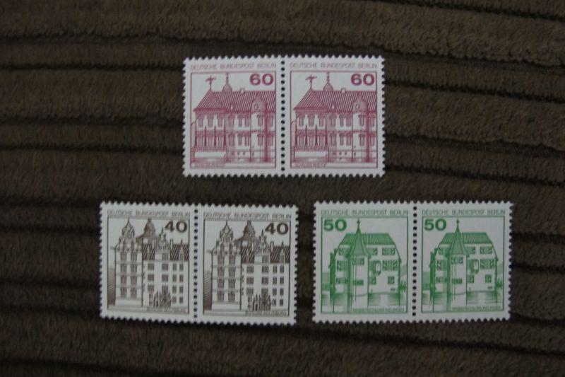 Briefmarken Berlin 1979 Serie Burgen u.Schlösser (III-IV) postfrisch, komplett, als Paare !
