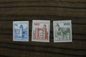 Briefmarken Berlin 1977 - Serie Burgen u. Schlösser I - 70, 190 + 200 Pf. pfr.
