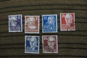 Briefmarken Deutschland 1948: Sowjet.Besatzungszone - Persönlichkeiten 6 W.gest.