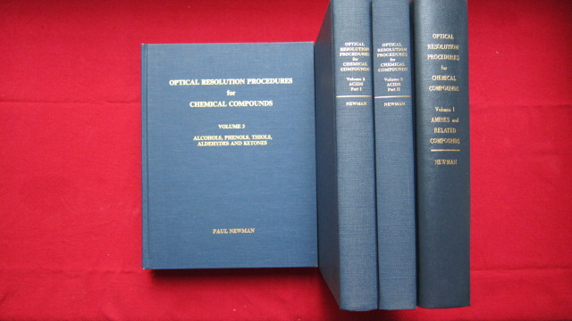 Optical Resolution Procedures for Chemical Compounds. [Vol. 1 - 3 (in 4 Bdn.)] Volume 1 : Amines and Related Compounds (ISBN 0960191801) / Volume 2 : Acids/Part I. (ISBN 0960191828) und Acids/Part II. (ISBN 0960191836) / Volume 3 : Alcohols, Phenols, Thio
