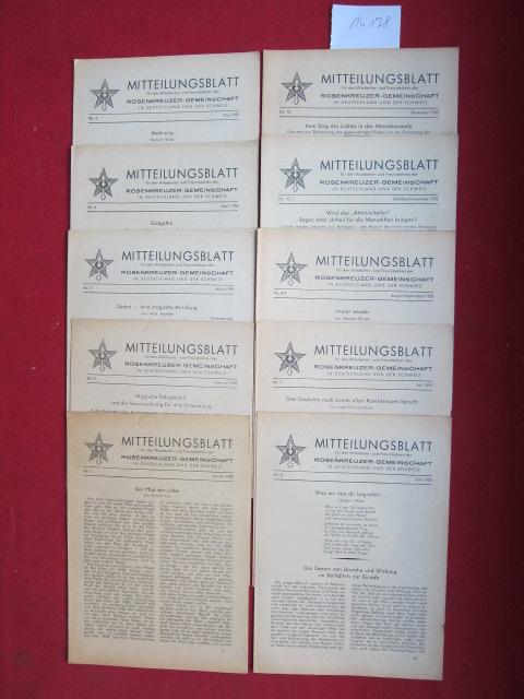 Mitteilungsblatt : Konvolut aus 10 Heften Nr. 1-12/1955 (Jan. - Dez.). für den Mitarbeiter- und Freundeskreis der Rosenkreuzer-Gemeinschaft in Deutschland und der Schweiz. EUR