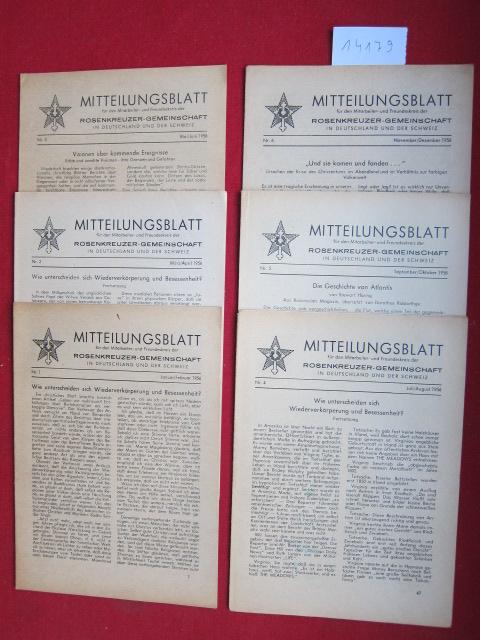 Mitteilungsblatt : Konvolut aus 6 Heften Nr. 1-6/1956 (Jan. - Dez.). für den Mitarbeiter- und Freundeskreis der Rosenkreuzer-Gemeinschaft in Deutschland und der Schweiz. EUR