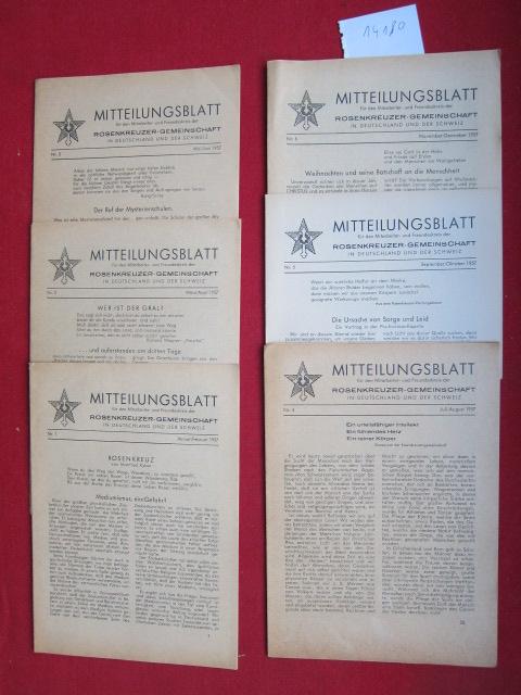 Mitteilungsblatt : Konvolut aus 6 Heften Nr. 1-6/1957 (Jan. - Dez.). für den Mitarbeiter- und Freundeskreis der Rosenkreuzer-Gemeinschaft in Deutschland und der Schweiz. EUR