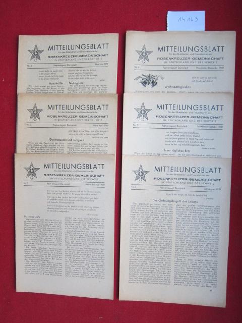 Mitteilungsblatt : Konvolut aus 6 Heften Nr. 1-6/1959 (Jan. - Dez.). für den Mitarbeiter- und Freundeskreis der Rosenkreuzer-Gemeinschaft in Deutschland und der Schweiz. EUR