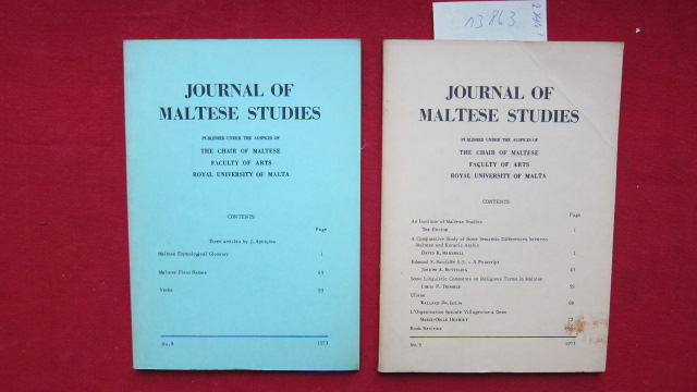 Journal of Maltese Studies - No. 8 + 9. Published under the auspices of The Chair of Maltese, Faculty of arts, Royal Universety of Malta. EUR