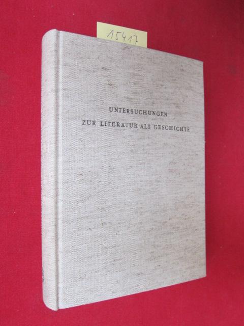 Untersuchungen zur Literatur als Geschichte : Festschrift f. Benno von Wiese. hrsg. von Vincent J. Günther [u. a.] EUR