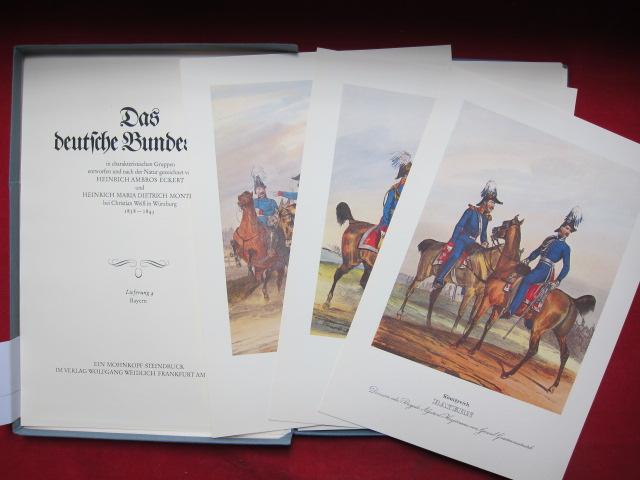 Das deutsche Bundesheer in charakteristischen Gruppen entworfen und nach der Natur gezeichnet von Heinrich Ambros Eckert und Heinrich Maria Dietrich Monten bei Christian Weiß in Würzburg 1838-1843. EUR