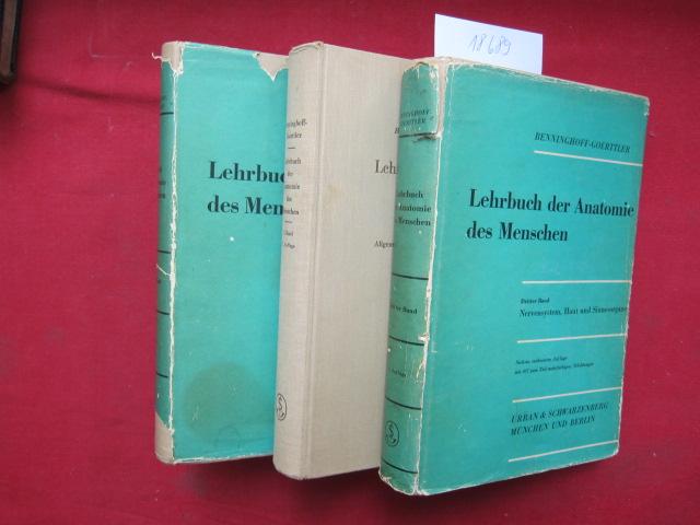 Lehrbuch der Anatomie des Menschen; Band 1 - 3 (komplett) Bd. 1: Allg. Anatomie u. Bewegungsapparat. Bd. 2: Eingeweide. Bd. 3., Nervensystem, Haut und Sinnesorgane. EUR