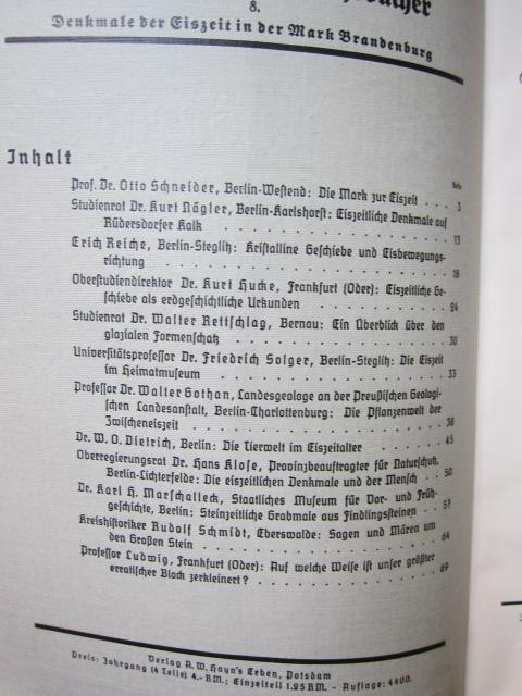 Brandenburgische Jahrbücher : Jahrgang 1937 (Heft 5 - 8) ; Hrsg. Landeshauptmann der Provinz Mark Brandenburg. Schriftenreihe für Natur- u. Landschaftsschutz, Geschichtsforschung, Archivwesen, Boden- u. Baudenkmalpflege, Volkskunde, Heimatmuseen. EUR