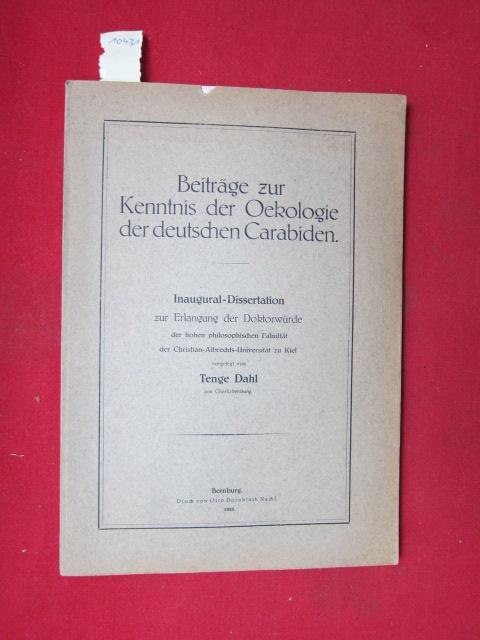 Beiträge zur Kenntnis der Oekologie der deutschen Carabiden : Sonderabdruck aus: Mitteilungen aus dem Zoologischen Museum in Berlin. 12. B., 1.H. EUR