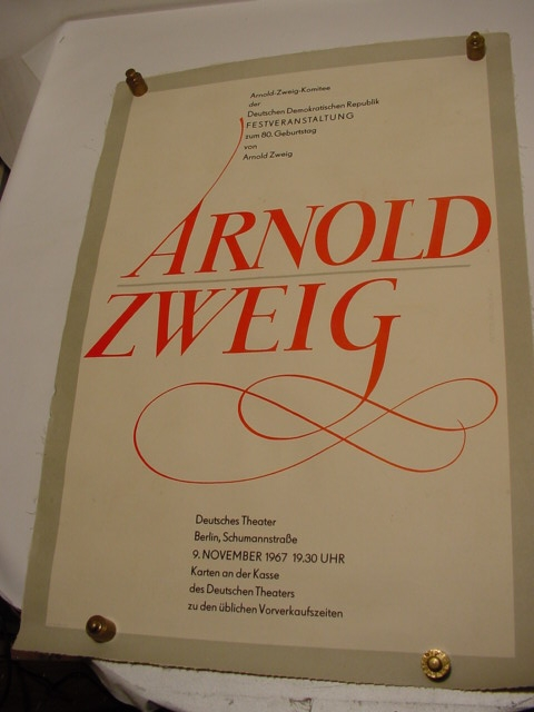 E 315 / Plakat Arnold Zweig zum 80. Geburtstag 1
