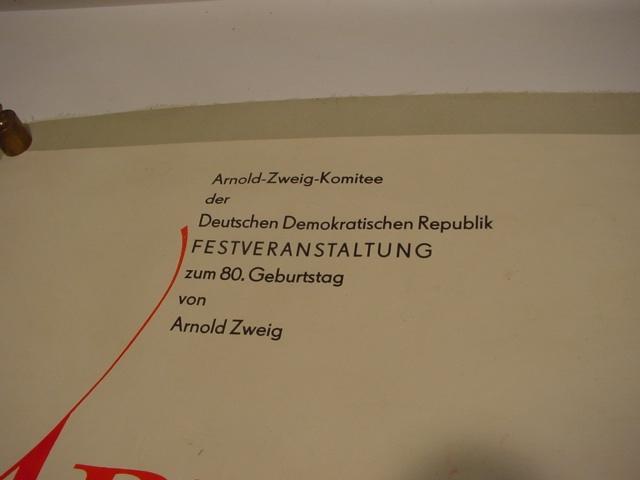 E 315 / Plakat Arnold Zweig zum 80. Geburtstag 2