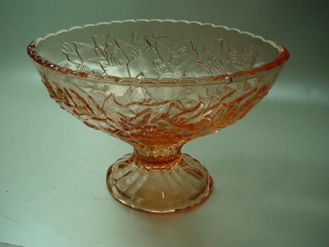 B767/ Ovale Schale Gebrauchglas rosa 30er Jahre