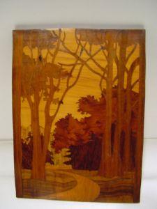 C125/ Intasienbild Landschaft um 1900/1920 12cm x 23cm