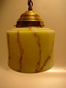 B558/ 20er Jahre Hängelampe gelb/braun