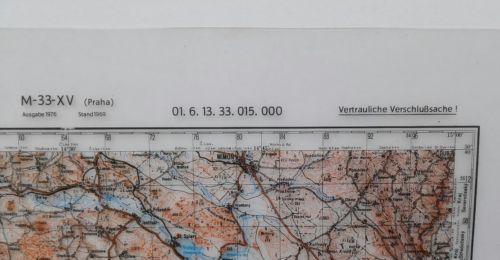 E930/ topografische Karte DDR vertrauliche Verschlusssache M-33-xv Praha 1
