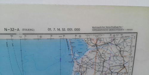 E929/ topografische Karte DDR vertrauliche Verschlusssache N-32-A Esbjerg 1