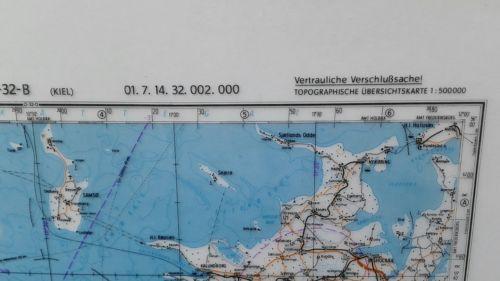 E928/ topografische Karte DDR vertrauliche Verschlusssache N-32-B Kiel 1