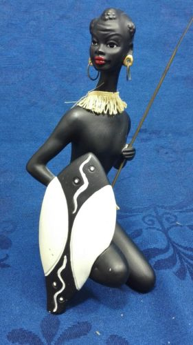 E993/Afrikanische Frau Skulptur schwarz Keramik 50/60er