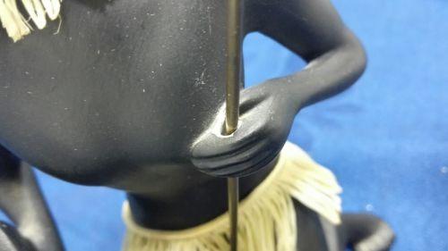 E993/Afrikanische Frau Skulptur schwarz Keramik 50/60er 2