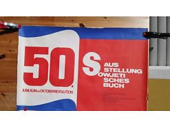 E50/ Poster Plakat 50 Jubiläum Oktoberrevolution Ausstellung sowjetisches Buch
