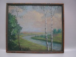 GB730/ Bild Landschaft mit Birken Kreide E.Deork