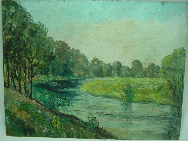 GC224/ Bild: Flusslandschaft B Jaennicke (Jänicke) auf Karton