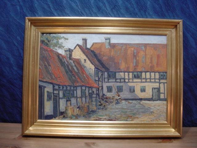GB279/ Ölmalerei Bauernhof Carl C Bowedt Dänemark 22