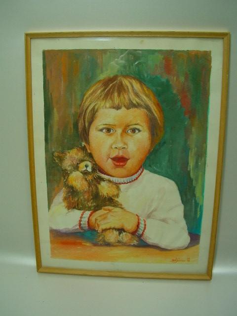GB717/ Kinderbild/ Mädchen mit Teddy A.Gräbner`68