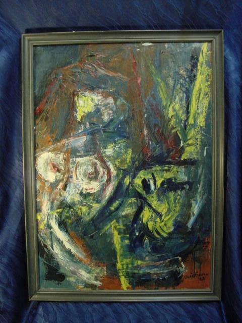 G794/ Oelmalerei Abstrakte Kunst Christian 68