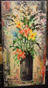 GB412/ Oel Bild Blumen 60er Jahre