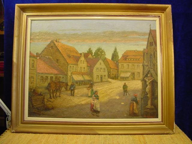 G226/ Gemälde sehr hübsch, Dorfidylle, H. Gödert