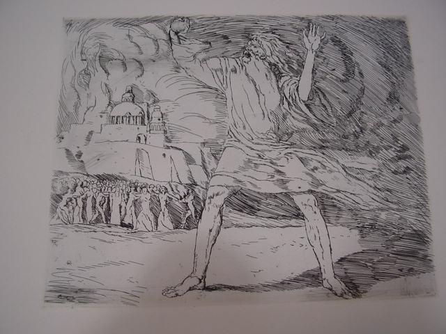 GB302/ Orig. Radierung Bibelmotiv Moses W. Orth 1905