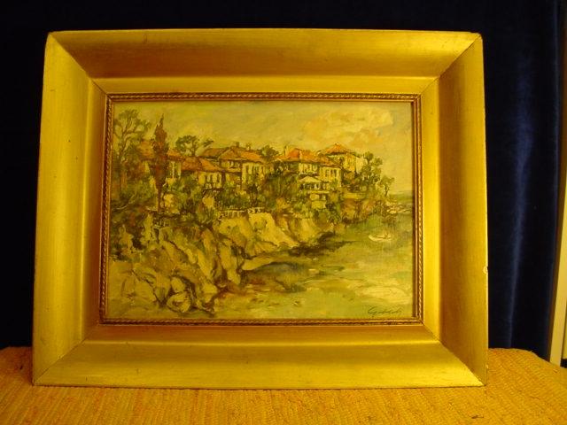 G279/ Gemälde, Gebäude an der Steilküste