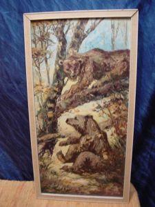 G469/ Ölbild Zwei Bären sehr schöne Arbeit 1968