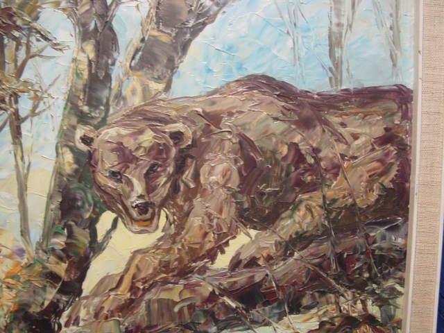 G469/ Ölbild Zwei Bären sehr schöne Arbeit 1968 1