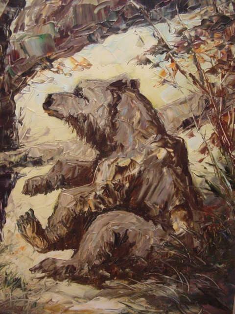 G469/ Ölbild Zwei Bären sehr schöne Arbeit 1968 8